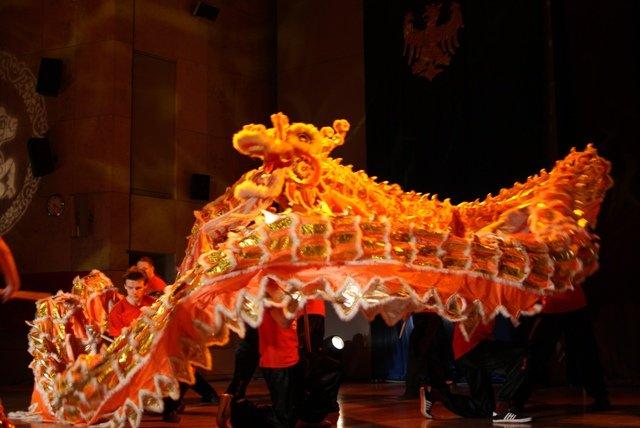 AMW_Choy Lee Fut Polska_Obchody Chińskiego Nowego Roku 2014_Auditorium Maximum UJ_otwarcie gali_Taniec Smoka