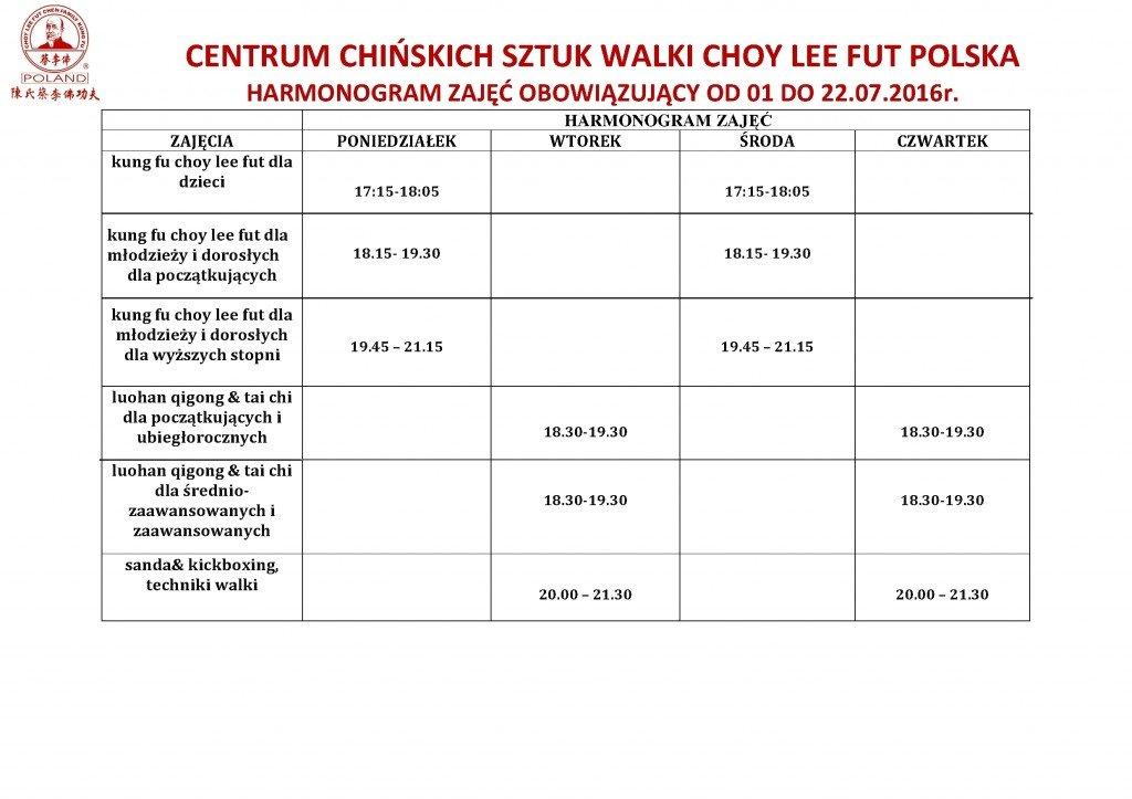 Harmonogram zajęć Centrum Choyy Lee Fut Polska lipiec 2016