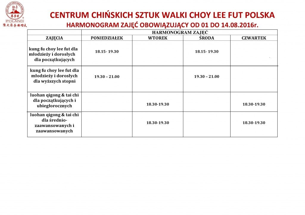 Centrum_Choy_Lee_Fut_Polska_harmonogram zajęć_wakacyjnych SIERPIEŃ_2016